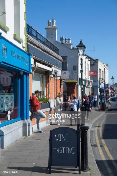 Sorrento Road in Dalkey on 08th April 2017 in County Dublin, Republic of Ireland. Dalkey is one of the most affluent suburbs of Dublin, and a seaside...