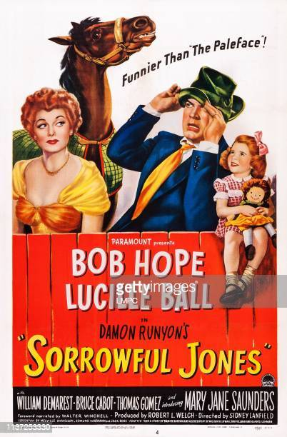 Sorrowful Jones poster US poster art from left Lucille Ball Bob Hope Mary Jane Saunders 1949