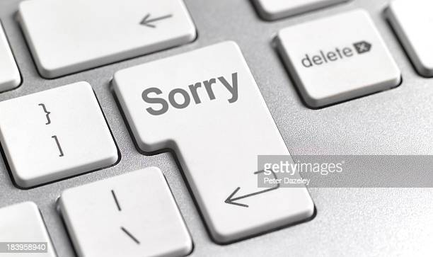 sorry on computer keyboard - reconciliation stock pictures, royalty-free photos & images