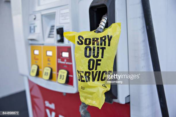 A Sorry Out Of Service bag covers a gas pump at a Royal Dutch Shell PLC gas station reserved for emergency responders ahead of Hurricane Irma in...