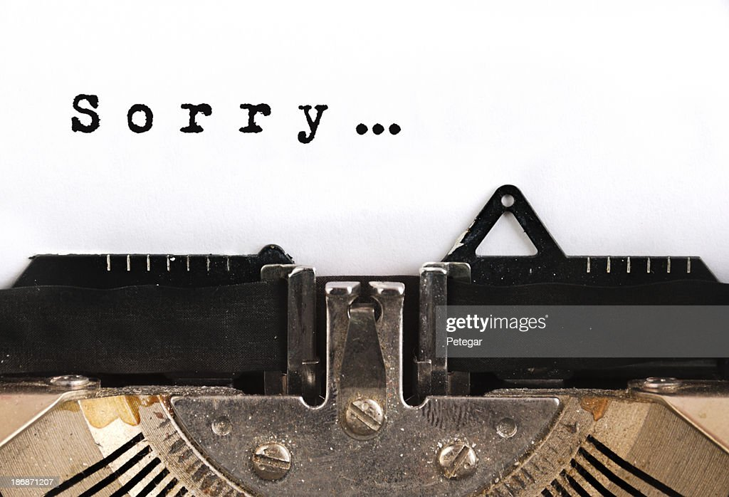 Desculpe de máquina de escrever : Foto de stock