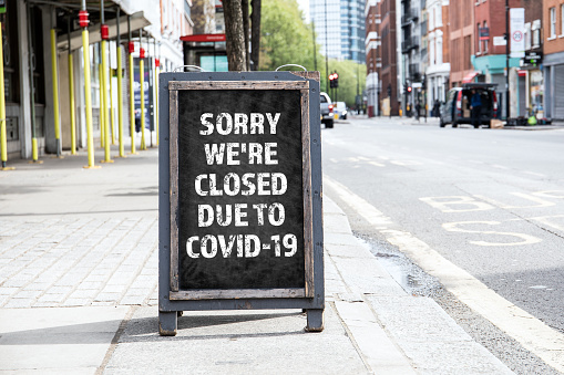 Sorry we're CLOSED due to COVID-19. Foldable advertising poster 1213432934