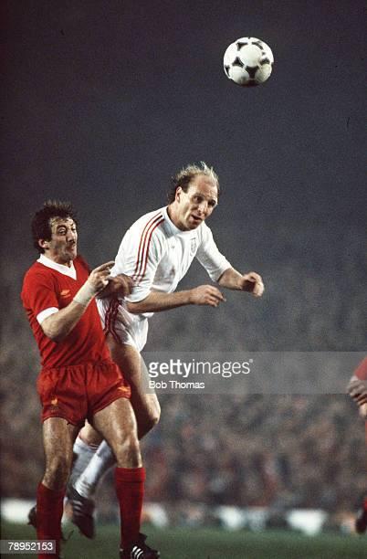 April 1981 European Cup Semi Final Liverpool 0 v Bayern Munich 0 Bayern Munich's Dieter Hoeness outjumps Liverpool's Alan Kennedy