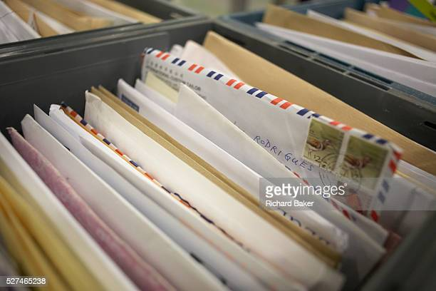Sorted letters are grouped in a drawer at Royal Mail's giant warehouse at the DIRFT logistics park in Daventry Northamptonshire England Raised from...