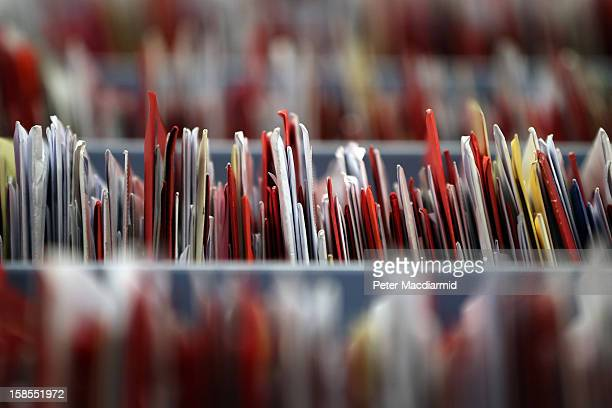 Sorted letters sit in a row at Royal Mail's Medway Sorting Centre on December 18 2012 in Rochester England The recently opened £70 million mail...