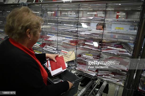 Sorted local letters are collected at Royal Mail's Medway Sorting Centre on December 18 2012 in Rochester England The recently opened £70 million...