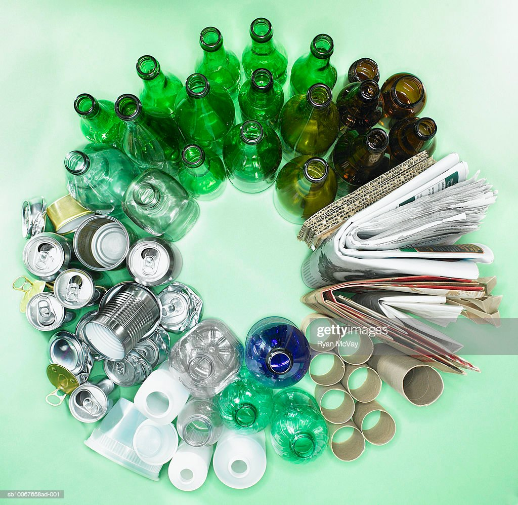Sorted recycling forming circle, view from above : Stock Photo