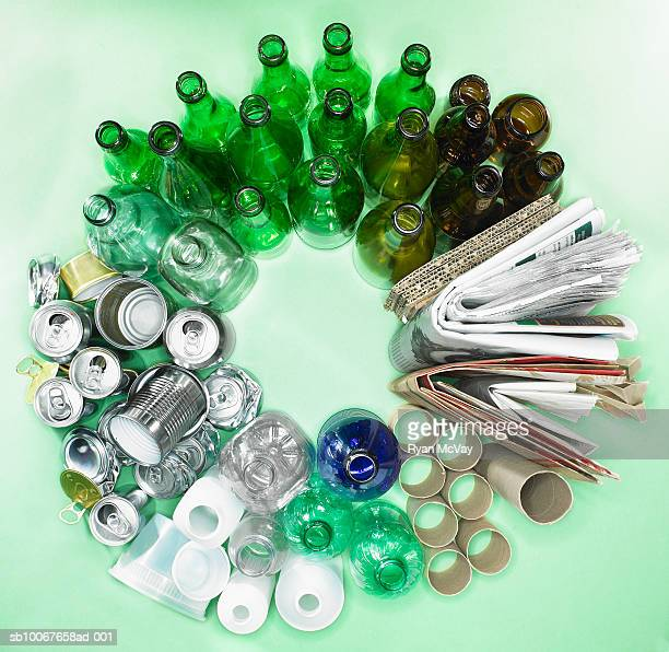 sorted recycling forming circle, view from above - recycle stock pictures, royalty-free photos & images