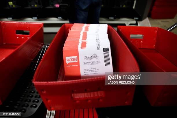 Sorted vote-by-mail ballots are pictured on Election Day at the King County Elections office in Renton, Washington on November 3, 2020. - Americans...