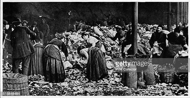 Sorting a dust heap at a County Council Depot, London, circa 1850 . Dust-yards were privately run waste sorting centres, sifting and sorting varying...