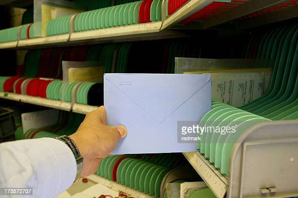 Sorting cards in the mail room