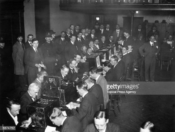 Sorting clerks at work counting votes at Peckham, south London, during the general election, December 1923.