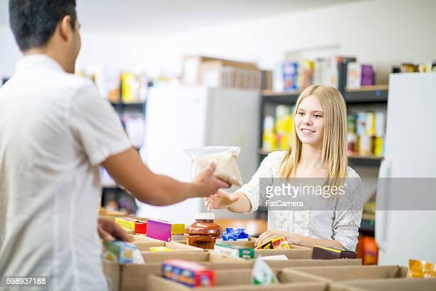 Sorting Food at a Food Bank