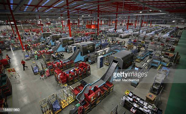 Sorting machines dominate the Royal Mail's Medway Sorting Centre on December 18 2012 in Rochester England The recently opened £70 million mail centre...