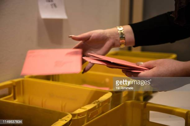 Sorting of absentee ballots which have already arrived at the election committee on May 16 2019 in Berlin Germany Early voting is underway ahead of...