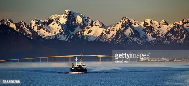 Sortland (Norway) Bridge during the Midnight Sun