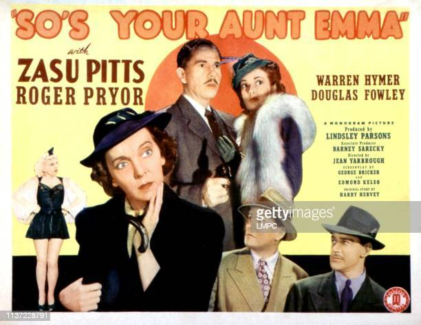So's Your Aunt Emma, lobbycard, Elizabeth Russell, Zasu Pitts, Roger Pryor, Warren Hymer, Gwen Kenyon, Douglas Fowley, 1942.