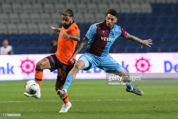 Sosa of Trabzonspor in action against Junior Caicara of Medipol Basaksehir during Turkish Super Lig soccer match between Medipol Basaksehir and...