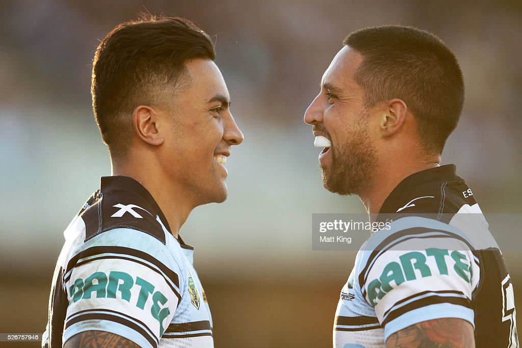 Sosaia Feki of the Sharks (L) celebrates with Gerard Beale of the Sharks (R) after scoring a try during the round nine NRL match between the Cronulla Sharks and the Brisbane Broncos at Southern Cross Group Stadium on May 1, 2016 in Sydney, Australia.
