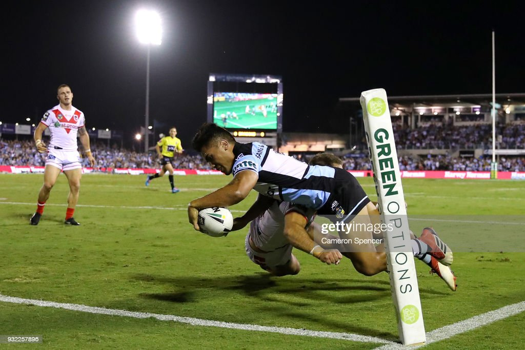 Sosaia Feki of the Sharks scores a try during the round two NRL match between the Cronulla Sharks and the St George Illawarra Dragons at Southern Cross Group Stadium on March 15, 2018 in Sydney, Australia.