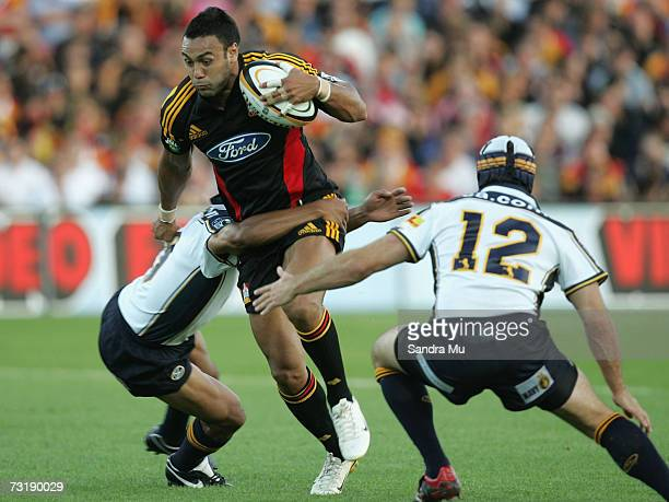 Sosene Anesi of the Chiefs tries to break through the Brumbies defence during the round one Super 14 match between the Chiefs and the Brumbies at...