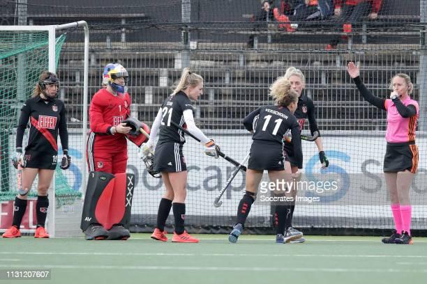 Sosha Benninga of Amsterdam Dames 1 Anne Veenendaal of Amsterdam Dames 1 Lauren Stam of Amsterdam Dames 1 Maria Verschoor of Amsterdam Dames 1 during...