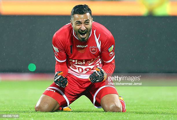 Sosha Makani celebrates after the Goal during the Iran Pro League match between Esteghlal and Perspolis at Azadi Stadium on October 30 2015 in Tehran...