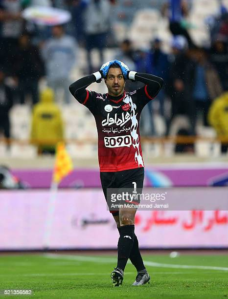 Sosha Makani of Perspolis celebrates after the third goal during the Iran Pro League match between Esteghlal and Perspolis at Azadi Stadium on April...