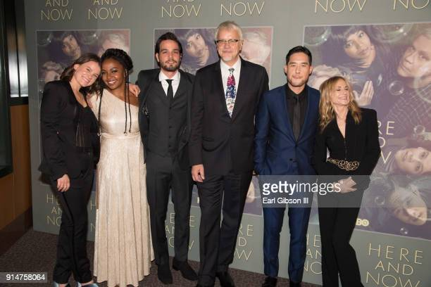 Sosie Bacon Jerrika Hinton Daniel Zovatto Tim Robbins Raymond Lee and Holly Hunter attend the Premiere Of HBO's Here And Now at Directors Guild Of...