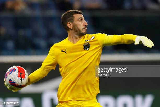 Soslan Dzhanaev of Sochi in action during the Russian Premier League match between FC Zenit Saint Petersburg and FC Sochi on October 3, 2021 at...