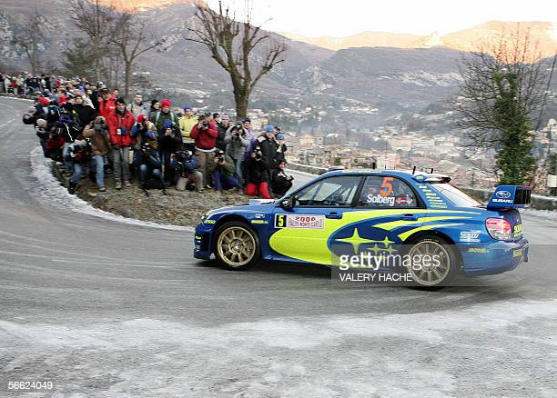 Norwegian driver Petter Solberg steers his Subaru Impreza WRC during the Monte Carlo rally practice session 19 January 2006 in Sospel south eastern...