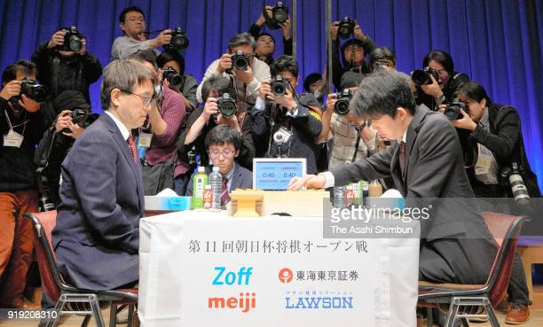 Sota Fujii and Yoshiharu Habu compete in their semifinal match of the Asahi Cup competition on February 17 2018 in Tokyo Japan