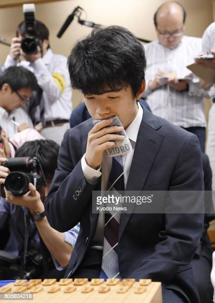 Sota Fujii at 14 the youngest professional player of shogi Japanese chess is seen after suffering his first loss in 30 career matches Fujii was...