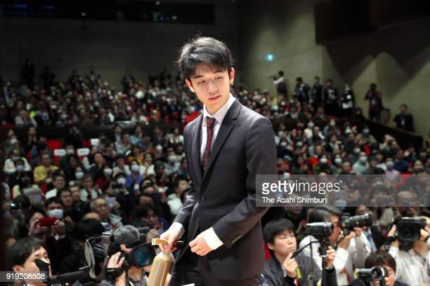 Sota Fujii is seen on arrival at the the Asahi Cup competition semifinal match against Yoshiharu Habu on February 17 2018 in Tokyo Japan