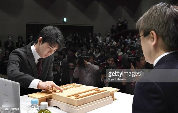 Sota Fujii Japan's youngest professional shogi player aged 15 competes against 47yearold Yoshiharu Habu in Tokyo on Feb 17 2018 Fujii beat Habu...