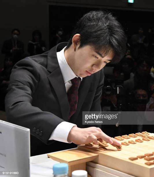 Sota Fujii Japan's youngest professional shogi player aged 15 is seen during a match against 47yearold Yoshiharu Habu in Tokyo on Feb 17 2018 Fujii...