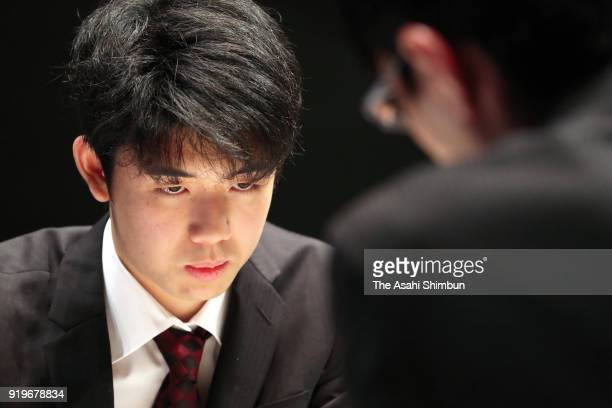 Sota Fujii makes a move against Akihito Hirose in the final match of the Asahi Cup competition at Yurakukcho Asahi Hall on February 17 2018 in Tokyo...