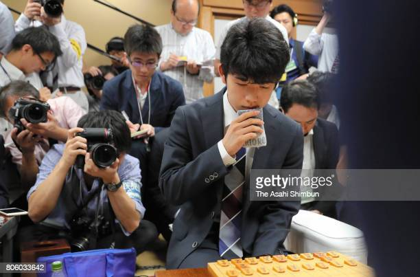 Sota Fujii reacts after his defeat in the Ryuo final tournament against Yuki Sasaki at Shogi Kaikan on July 2 2017 in Tokyo Japan Fujii who had never...