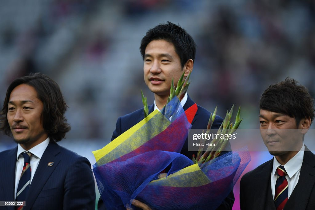 Sota Hirayama (C) is seen during his retirement ceremony after the J.League J1 match between FC Tokyo and Vegalta Sendai at Ajinomoto Stadium on March 3, 2018 in Chofu, Tokyo, Japan.