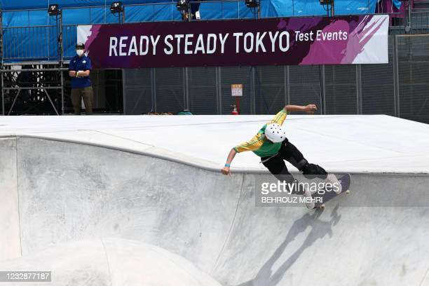 Sota Tsuji of Japan competes in the park skateboarding venue during a test event for the Tokyo 2020 Olympic Games at Ariake Urban Sports Park in...
