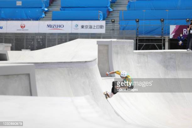 Sota Tsuji performs his routine during the READY STEADY TOKYO Skateboarding Test Event at Ariake Urban Sports Park in course of the preparations for...