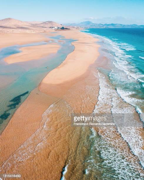 sotavento beach at the atlantic ocean in fuerteventura, canary islands. aerial view - francesco riccardo iacomino spain foto e immagini stock