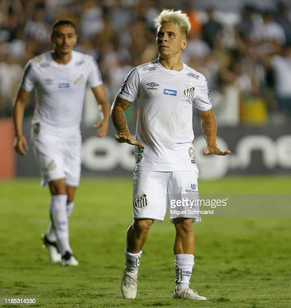 Soteldo of Santos celebrates after scoring his first goal and third of his team during a match between Santos and Botafogo for the Brasileirao Series...