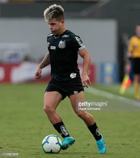 Soteldo of Santos controls the ball during a match between Santos and CSA for the Brasileirao Series A 2019 at Vila Belmiro Stadium on September 29,...