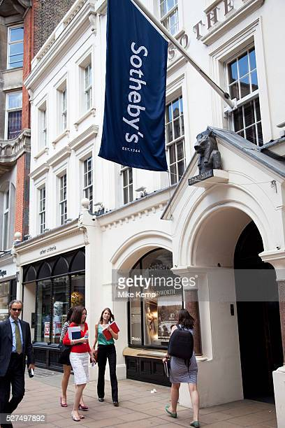 Sotheby's auction house Exclusive shops on New Bond Street Mayfair central London It is one of the principal streets in the West End shopping...