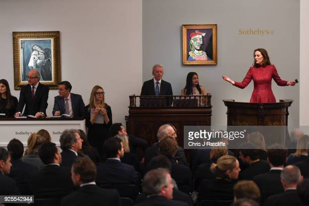 Sotheby's auctioneer Helena Newman sells Pablo PicassoÕs weeping ÔGolden MuseÕ for GBP498 million during Sotheby's Impressionist Modern Surrealist...