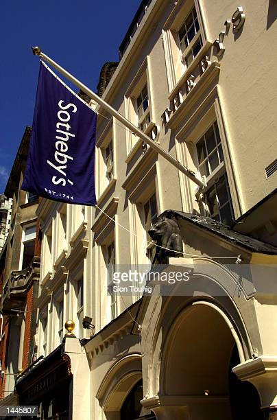 Sotheby''s banner is displayed over the entrance of the auction house July 13 2001 on New Bond street in London England