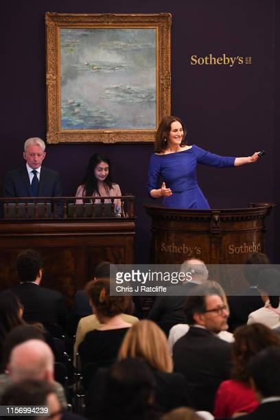 Sotheby's European Chairman and auctioneer, Helena Newman fields bids at Sotheby's flagship Impressionist & Modern Art sale in London tonight....