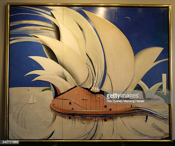 Sotheby's unveil Brett Whiteley's 'Opera House' part of the Qantas corporate collection that is being sold off 14 February 2007 SMH Picture by SAHLAN...