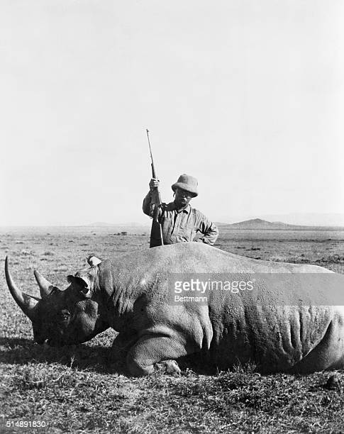 1909 Sotik Africa Photo shows Theodore Roosevelt standing over the dead rhino